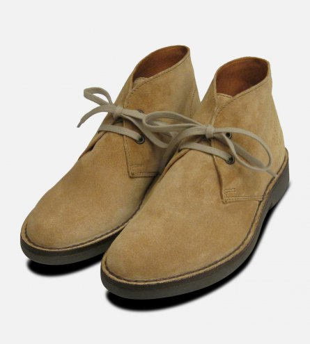 Ladies Lion Beige Suede Italian Desert Boots