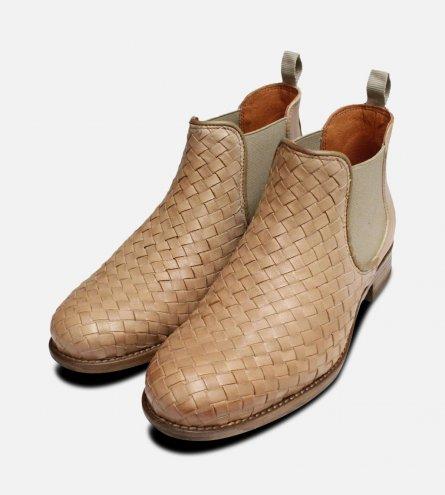 Beige Weave Womens Demi Chelsea Boots