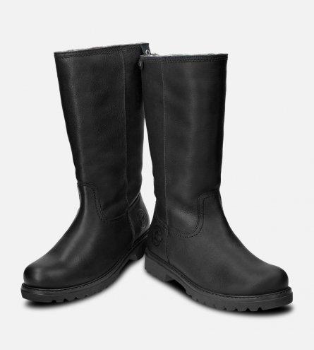 c99046bb3de9c3 Panama Jack Ladies Bambina Waxy Black Leather Boots