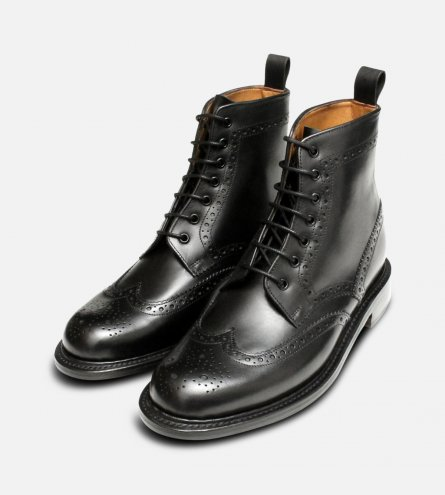 Black Goodyear Welted Brogue Chapman Country Boots