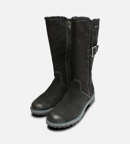 Black Nubuck Suede Tamaris Long Boots Duo-Tex