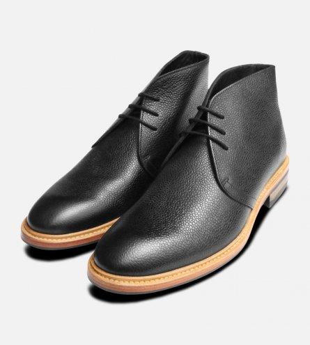 Black Tumble Grain Chukka Boots by John White