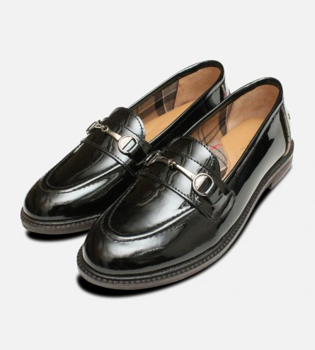 Black Polished Barbour Ladies Heather Loafers