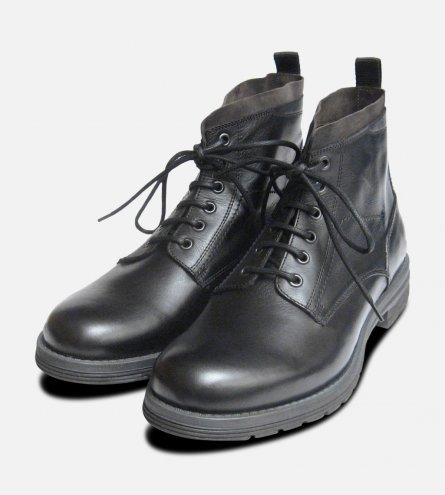 Designer Italian Mens Commando Boots in Black Calf Leather
