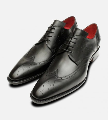 Matt Black Leather Jeffery West Mens Premium Brogues