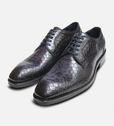 Mens Formal Black Snake Skin Shoes