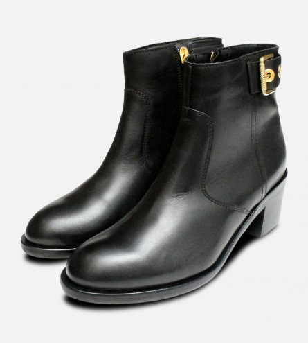 Gold Buckle Tommy Hilfiger Parson Boots in Black