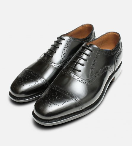 Semi Brogue Black Oxford Mens Chapman Shoes