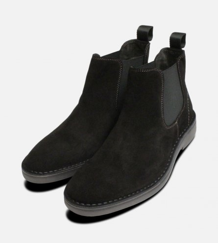 New Black Suede Italian Chelsea Boots for Men