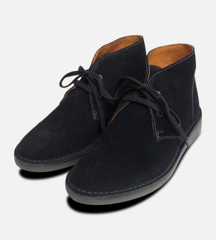 Ladies Black Suede Kebo Italian Desert Boots