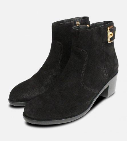 Black Suede Tommy Hilfiger Gold Buckle Parson Boots