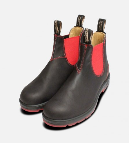 Ladies Blundstone 1316 Black & Red Ankle Chelsea Boots
