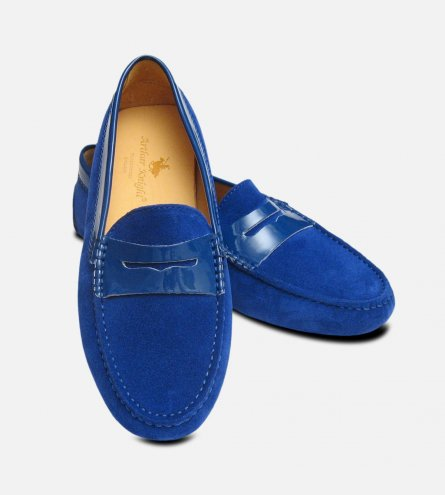 Electric Blue Suede & Patent Arthur Knight Ladies Italian Driving Moccasins