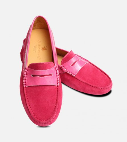Pink Suede & Patent Leather Italian Driving Shoes