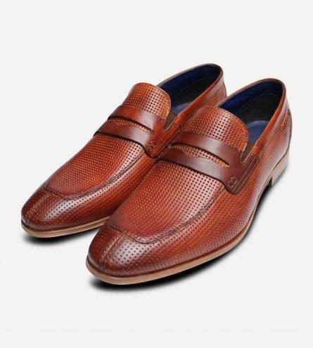 Designer Bugatti Mens Penny Loafers in Brown