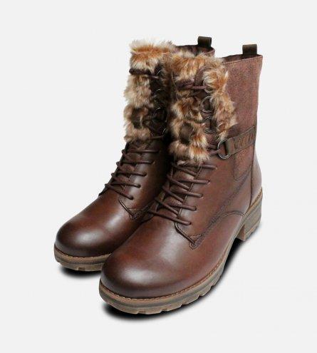 Ladies Brown Tamaris Fur Ankle Zip Boots