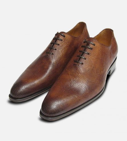 Designer Lizard Skin Whole Cut Mahogany Iguana Brown Mens Shoes