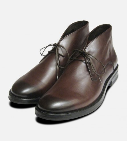 Mens Designer Italian Plain Lace Up Boots in Burnished Dark Brown