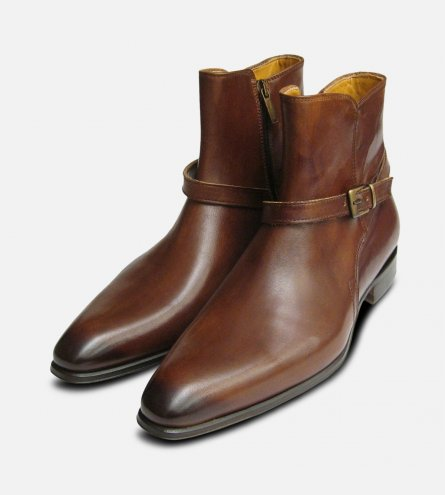 Designer Mens Brown Jodhpur Zip Boots