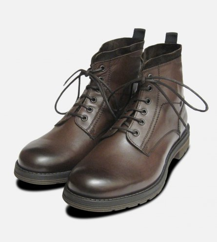 Designer Italian Mens Commando Boots in Burnished Brown Calf Leather