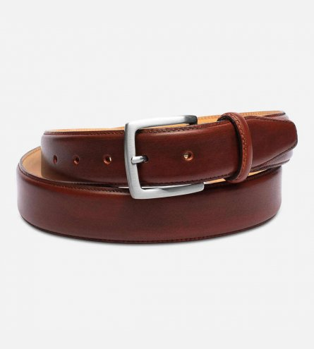 Chestnut Brown Leather Mens Belt with Silver Buckle