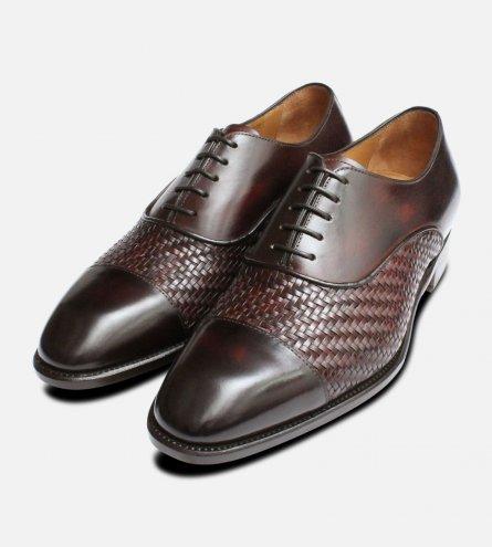Dark Brown Weave Shoes by Carlos Santos