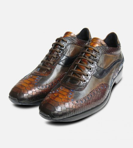 Designer Mens Brown Snake Skin Shoes