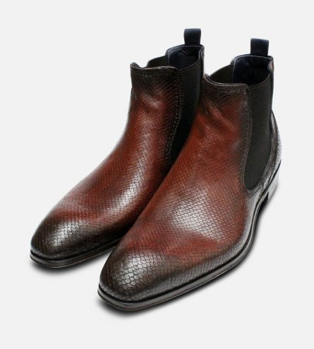Brown Snake Skin Effect Mens Chelsea Boot