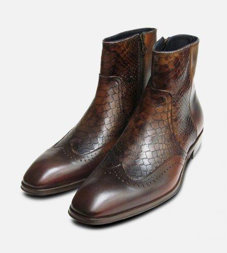 dcb38ee81dde7 Designer Mens Brown Snakeskin Zip Boot