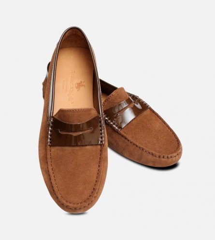 Whisky Brown Suede Italian Driving Shoe Moccasins