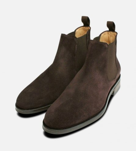 Brown Suede Slip On Boots by John White Shoes