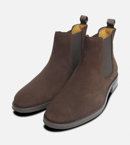 John White Shoes Chelsea R Boots in Brown Suede Leather Rubber Sole