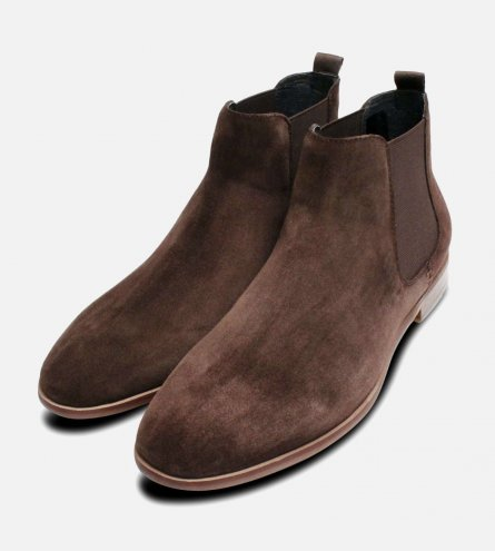 Mid Brown Suede Round Toe John White Chelsea Boots