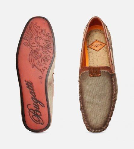 1e5eed605c8 Smoked Designer Bugatti Loafers in Beige Canvas