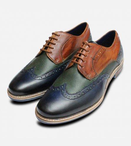 Bugatti Three Colour Tri-tone Shoes in Navy Green & Tan
