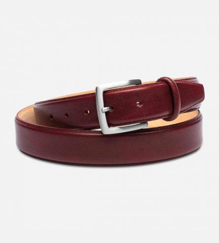 Burgundy Oxblood Leather Belt with Silver Buckle