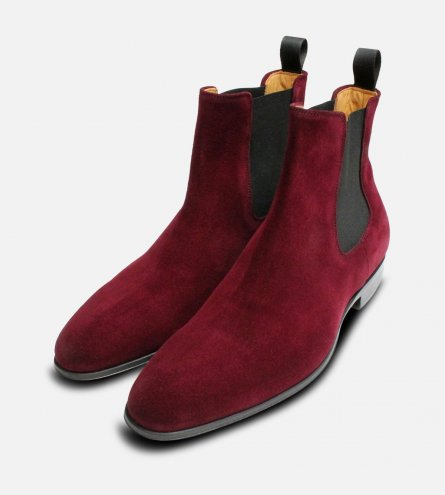 Rich Burgundy Velour Suede Mens Chelsea Boots
