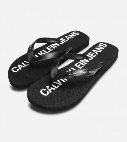 Calvin Klein Mens Errol Jelly Flip Flops in Black