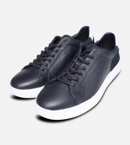 Navy Blue Calvin Klein Fuego Trainers in Soft Nappa Leather