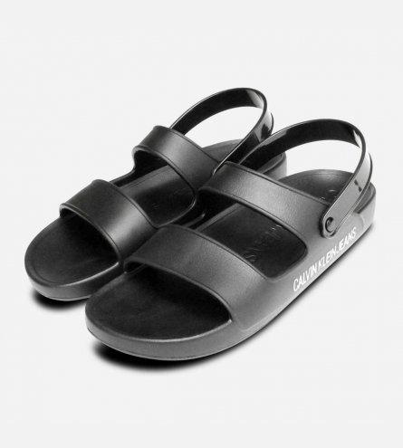Calvin Klein Mens Designer Black Rubber Patton Sandals