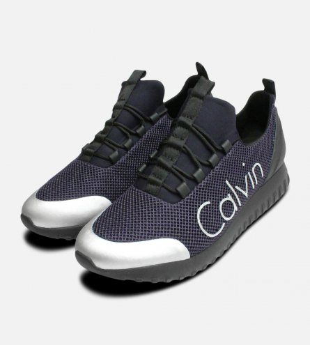 Indigo & Brushed Metal Calvin Klein Ron Trainers