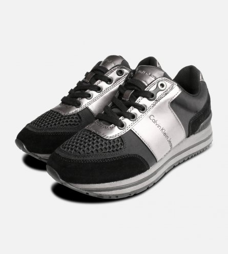 Calvin Klein Tanya Trainers  in Black & Pewter