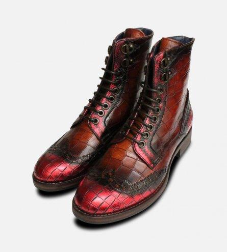 Campari Metallic Red Italian Designer Ladies Boots
