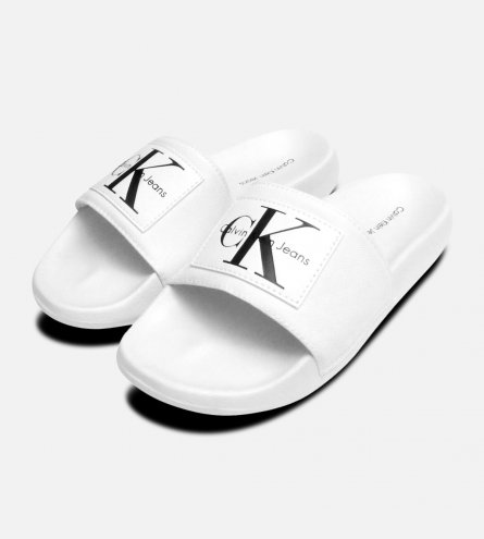 White Calvin Klein Ladies Chloe Nylon Sliders
