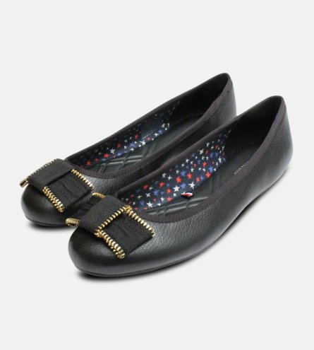 Claudia Tommy Hilfiger Black Ballerina with Gold Zip