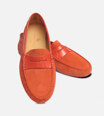 Coral Pink Suede & Patent Designer Ladies Italian Driving Moccasins