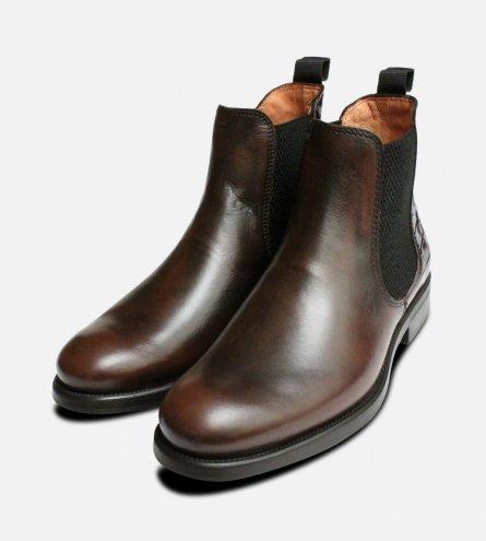 Dark Brown Italian Chelsea Boots with Crocodile Heel