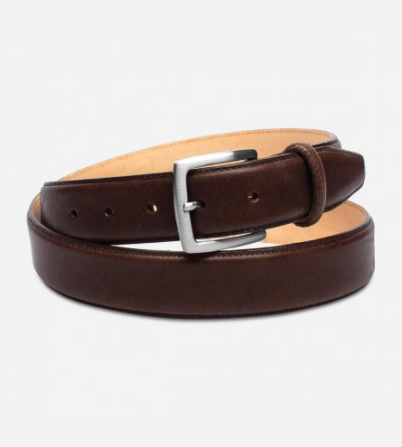 Dark Brown Leather Belt with Silver Buckle by Arthur Knight