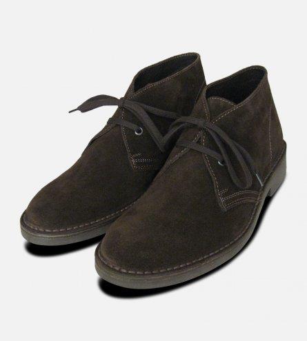 Mens Dark Brown Suede Italian Desert Boots