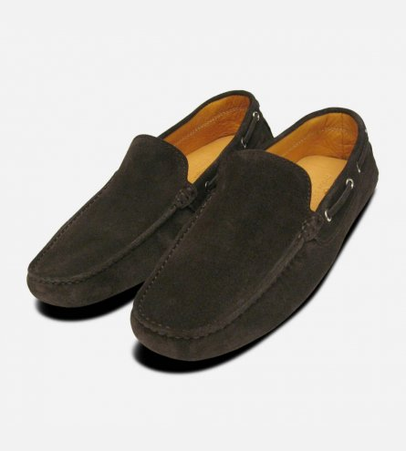 Dark Brown Suede Italian Driving Shoe Moccasins